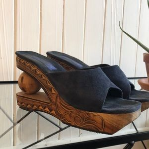 Shoes - Hand carved wooden wedges, size 8